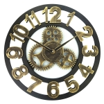 Retro Wooden Round Single-sided Gear Clock Number Wall Clock, Diameter: 45cm (Gold)