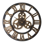 Retro Wooden Round Single-sided Gear Clock Rome Number Wall Clock, Diameter: 50cm (Gold)
