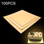 100 PCS Square Cake Cardboard Pad Golden Cake Mousse Cake Mat, Size: 21 x 21cm