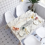 White Marble Pattern Waterproof Anti-scalding Rectangle Cotton and Linen Table Cloth, Size: 140 x 100cm