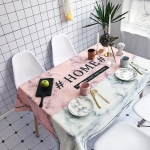 Marble and HOME Pattern Waterproof Anti-scalding Rectangle Cotton and Linen Table Cloth, Size: 140 x 100cm