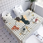 Plaid and Deer Pattern Waterproof Anti-scalding Rectangle Cotton and Linen Table Cloth, Size: 140 x 100cm