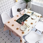 Gold Wave Point Pattern Waterproof Anti-scalding Rectangle Cotton and Linen Table Cloth, Size: 140 x 100cm