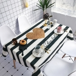 Striped Love Pattern Waterproof Anti-scalding Rectangle Cotton and Linen Table Cloth, Size: 140 x 100cm