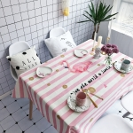 Striped Bird Pattern Waterproof Anti-scalding Rectangle Cotton and Linen Table Cloth, Size: 140 x 100cm