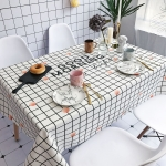 Good Morning Pattern Waterproof Anti-scalding Rectangle Cotton and Linen Table Cloth, Size: 140 x 100cm