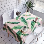 Pink Background Green Leaf Pattern Waterproof Anti-scalding Rectangle Cotton and Linen Table Cloth, Size: 140 x 100cm