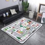 Town Street Pattern Rectangular Polyester Anti-skid Household Carpet Yoga Mat, Size: 200cm x 150cm