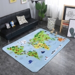 World Map Pattern Rectangular Polyester Anti-skid Household Carpet Yoga Mat, Size: 200cm x 150cm
