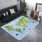 World Map Pattern Rectangular Polyester Anti-skid Household Carpet Yoga Mat, Size: 200cm x 150cm