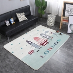 Clock Tower Pattern Rectangular Polyester Anti-skid Household Carpet Yoga Mat, Size: 200cm x 150cm