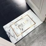 Platinum Marble Pattern Rectangular Bathroom PVC Pad Anti-skid Household Foot Carpet, Size: 75 x 45cm