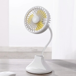 WT-D8 2000mAh 360 Degree Rotation Mini Portable Light Fan with 3 Speed Control& Phone / Pen Holder (White)