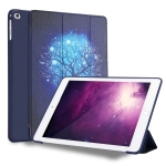 Blue Tree Pattern Horizontal Flip PU Leather Case for iPad 9.7 (2018) & (2017) / Air 2 / Air, with Three-folding Holder & Honeycomb TPU Cover