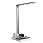 X-1 4 in1 Wireless Charging Eye-Protection Desk Lamp for iWatch / iPhone / AirPods (Silver)