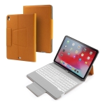 Colored Backlight Bluetooth Keyboard with Leather Flip Case for iPad Pro 11 (2018) (Orange)