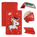 Unicorn Pattern Horizontal Flip PU Leather Case for iPad Mini 2019, with Three-folding Holder & Honeycomb TPU Cover
