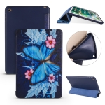 Butterflies Pattern Horizontal Flip PU Leather Case for iPad Mini 2019, with Three-folding Holder & Honeycomb TPU Cover