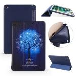 Blue Tree Pattern Horizontal Flip PU Leather Case for iPad Mini 2019, with Three-folding Holder & Honeycomb TPU Cover