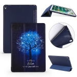 Blue Tree Pattern Horizontal Flip PU Leather Case for iPad Air 2019 / Pro 10.5 inch, with Three-folding Holder & Honeycomb TPU Cover