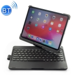 360 Degrees Rotation Colored Backlight Bluetooth Keyboard with ABS Cover for iPad Pro 11 (2018) (Black)