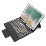 Colored Backlight Bluetooth Keyboard with Leather Flip Case for iPad 9.7 (2018 / 2017) & Air & Air 2 & Pro 9.7 (Black)