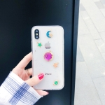 Shockproof Epoxy Purple Planet Pattern Soft TPU Case for iPhone XS Max (White)
