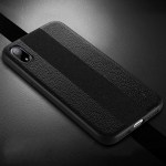 SULADA Anti-slip TPU + Handmade Leather Case for iPhone XR (Black)