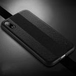 SULADA Anti-slip TPU + Handmade Leather Case for iPhone XR (Black)