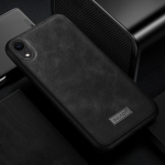 SULADA Shockproof TPU + Handmade Leather Case for iPhone XR (Black)