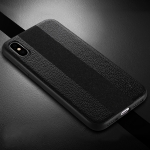 SULADA Anti-slip TPU + Handmade Leather Case for iPhone XS / X (Black)
