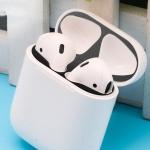 Metal Dustproof Sticker for Apple AirPods 2(Black)