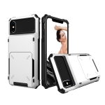 Shockproof TPU + PC Protective Case for iPhone X / XS, with Card Slot(White)