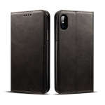 Suteni Calf Texture Horizontal Flip Leather Case for iPhone X / XS, with Holder & Card Slots & Wallet(Black)