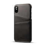 Suteni Calf Texture Protective Case for iPhone X / XS, with Card Slots (Black)
