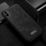 SULADA Shockproof TPU + Handmade Leather Case for iPhone XS / X (Black)