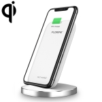 C Vertical Round Base 10W Fast Wireless Charger Charging Station for iPhone, Galaxy, Sony, Lenovo, HTC, Huawei, and Other QI Standard Smartphones (White)