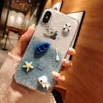 Shockproof Epoxy Glitter Dolphin Pattern Soft TPU Case for iPhone XS / X