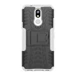 Shockproof  PC + TPU Tire Pattern Case for LG K40, with Holder (White)