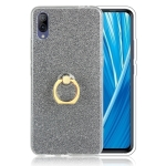 Glittery Powder Shockproof TPU Protective Case for Vivo X23, with 360 Degree Rotation Ring Holder (Black)