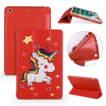 Unicorn Pattern Horizontal Flip PU Leather Case for iPad mini 3 / 2 / 1, with Three-folding Holder & Honeycomb TPU Cover