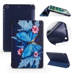 Butterflies Pattern Horizontal Flip PU Leather Case for iPad mini 3 / 2 / 1, with Three-folding Holder & Honeycomb TPU Cover