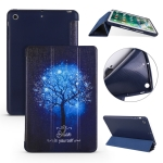 Blue Tree Pattern Horizontal Flip PU Leather Case for iPad mini 3 / 2 / 1, with Three-folding Holder & Honeycomb TPU Cover