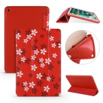 Sakura Pattern Horizontal Flip PU Leather Case for iPad mini 4, with Three-folding Holder & Honeycomb TPU Cover
