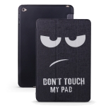 Angry Expression Pattern Horizontal Flip PU Leather Case for iPad mini 4, with Three-folding Holder & Honeycomb TPU Cover