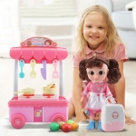 MoFun T1004B Simulation Music Lighting Effect Dining Car Stove Kitchenware Toys Set with Voice Doll & Bear & Suitcase