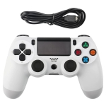Snowflake Button Wired Gamepad Game Handle Controller for PS4 (White)