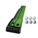 PGM Golf Putting Mat Push Rod Trainer 2.5m, with Three Soft Balls & Three Bicolor Balls & Auto Ball Return Fairway (Green)