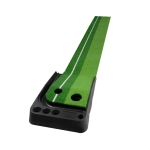 PGM Golf Mini Putting Mat Push Rod Trainer 3m, without Auto Ball Return Fairway (Green)