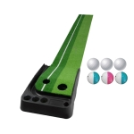 PGM Golf Putting Mat Push Rod Trainer 3m, with Three Soft Balls & Three Bicolor Balls, without Auto Ball Return Fairway (Green)